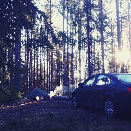 Утро, палатка, дым костра и VW Jetta